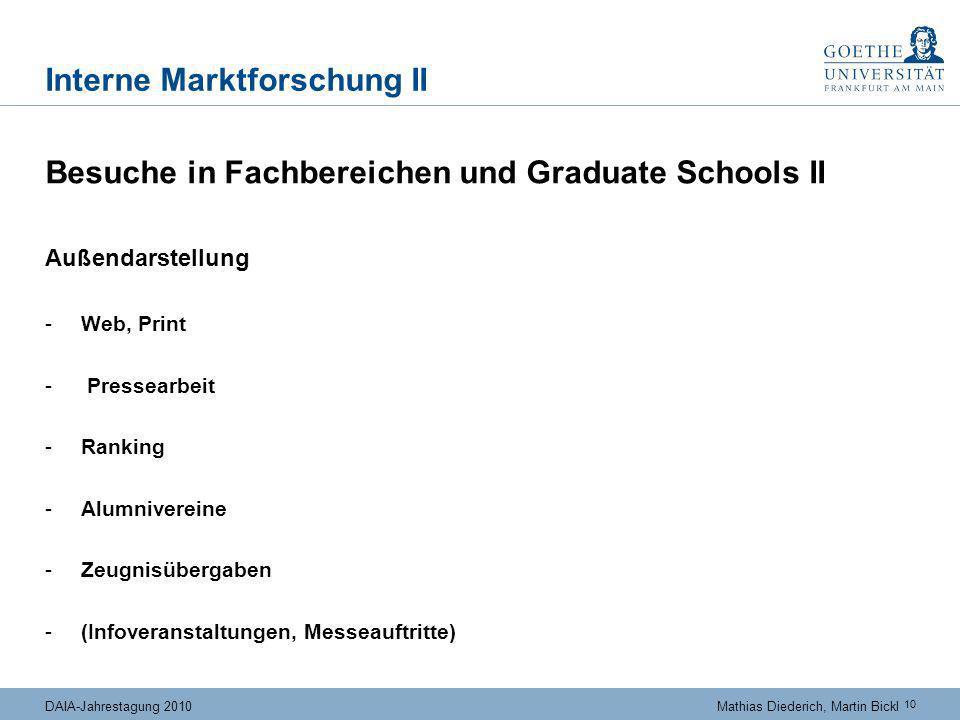 10 DAIA-Jahrestagung 2010Mathias Diederich, Martin Bickl Interne Marktforschung II Besuche in Fachbereichen und Graduate Schools II Außendarstellung -