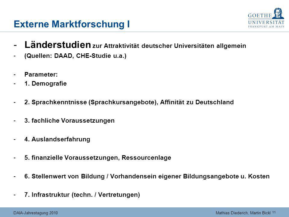 11 DAIA-Jahrestagung 2010Mathias Diederich, Martin Bickl Externe Marktforschung I -Länderstudien zur Attraktivität deutscher Universitäten allgemein -