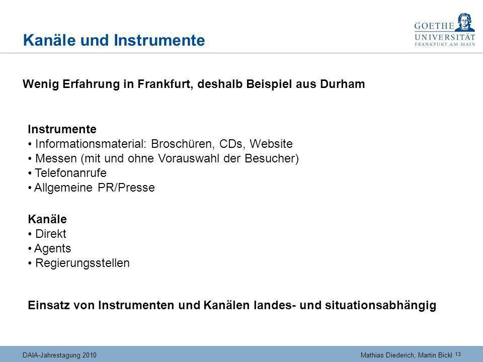 13 DAIA-Jahrestagung 2010Mathias Diederich, Martin Bickl Kanäle und Instrumente Wenig Erfahrung in Frankfurt, deshalb Beispiel aus Durham Einsatz von