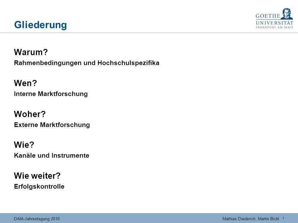 1 DAIA-Jahrestagung 2010Mathias Diederich, Martin Bickl Gliederung Warum? Rahmenbedingungen und Hochschulspezifika Wen? Interne Marktforschung Woher?