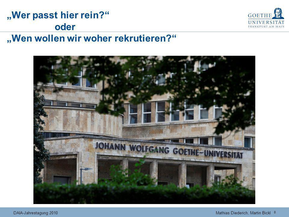 8 DAIA-Jahrestagung 2010Mathias Diederich, Martin Bickl Wer passt hier rein? oder Wen wollen wir woher rekrutieren?