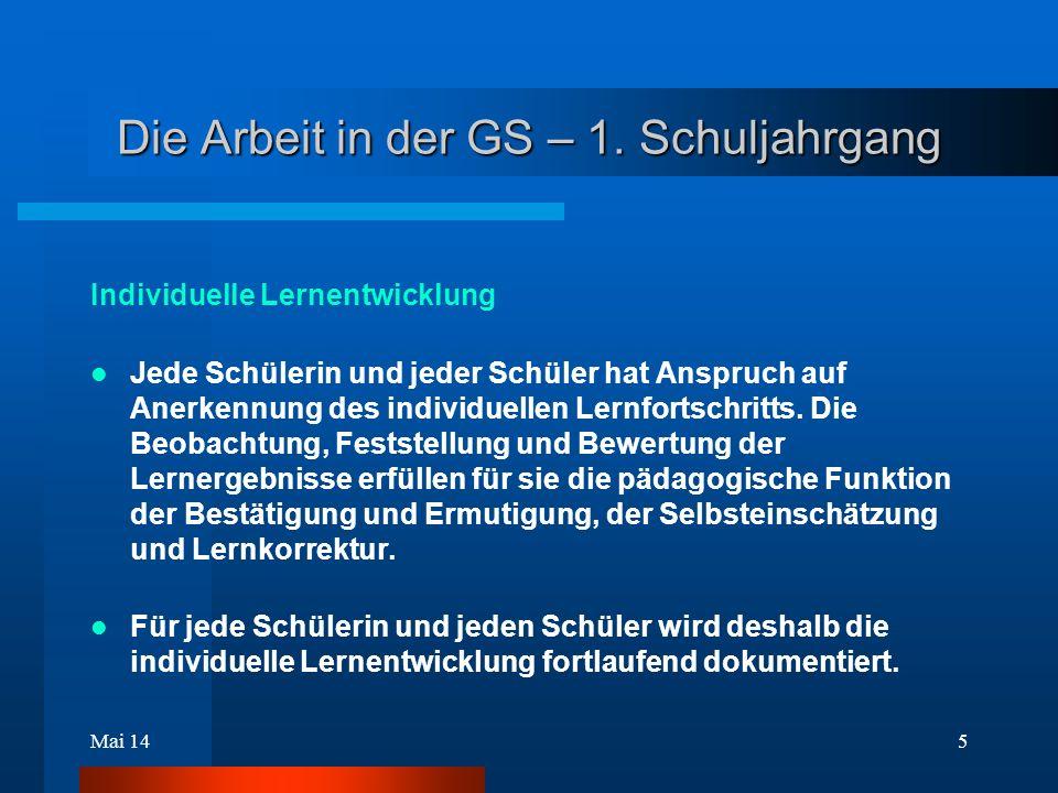 Mai 145 Die Arbeit in der GS – 1.