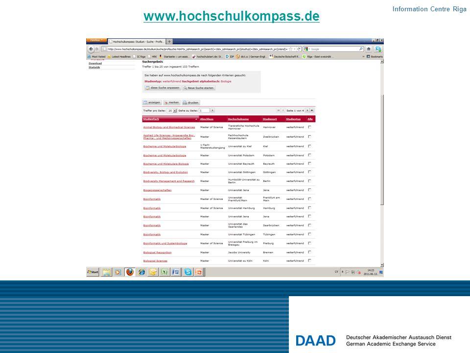 www.hochschulkompass.de Information Centre Riga