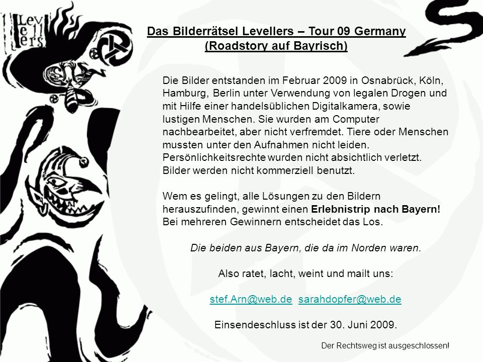 Das Bilderrätsel Levellers –Tour 09 Germany 1.