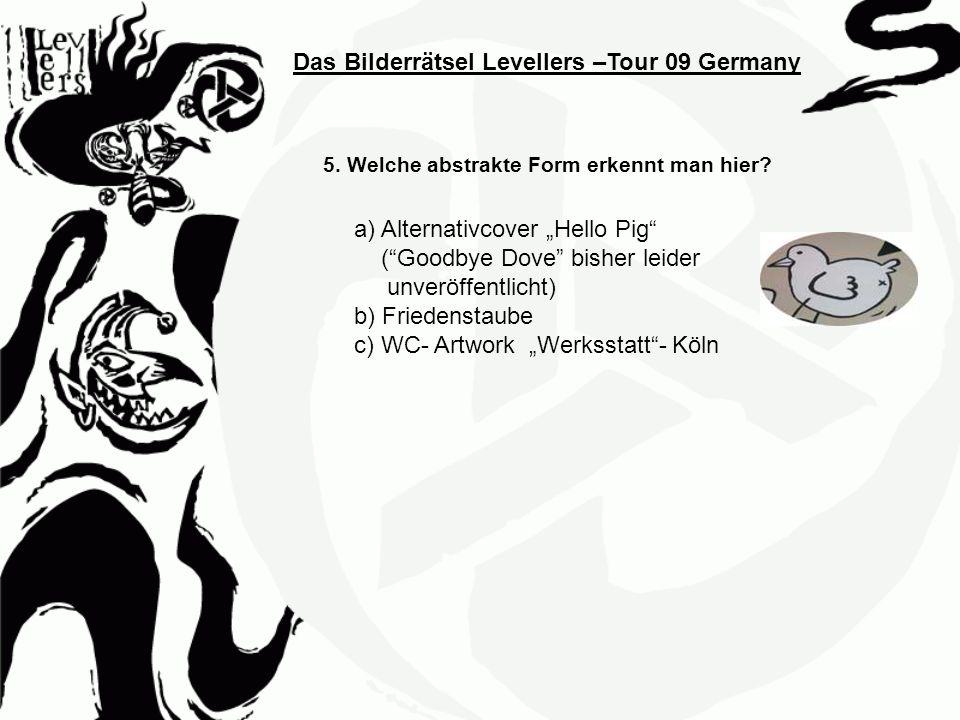 Das Bilderrätsel Levellers –Tour 09 Germany 5. Welche abstrakte Form erkennt man hier? a) Alternativcover Hello Pig (Goodbye Dove bisher leider unverö