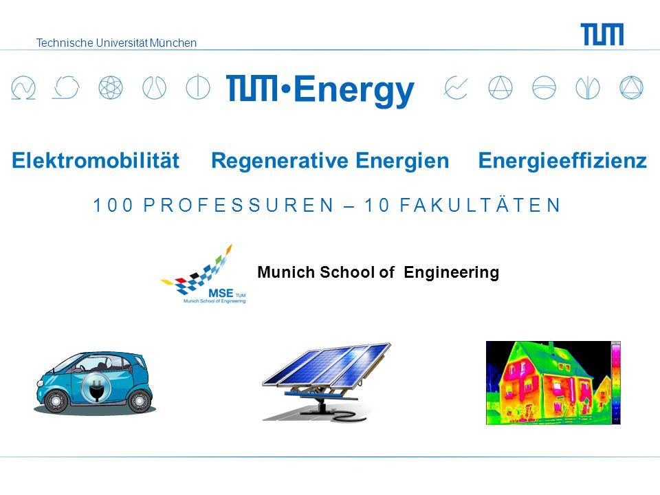 Technische Universität München ElektromobilitätRegenerative EnergienEnergieeffizienz Energy 1 0 0 P R O F E S S U R E N – 1 0 F A K U L T Ä T E N Muni
