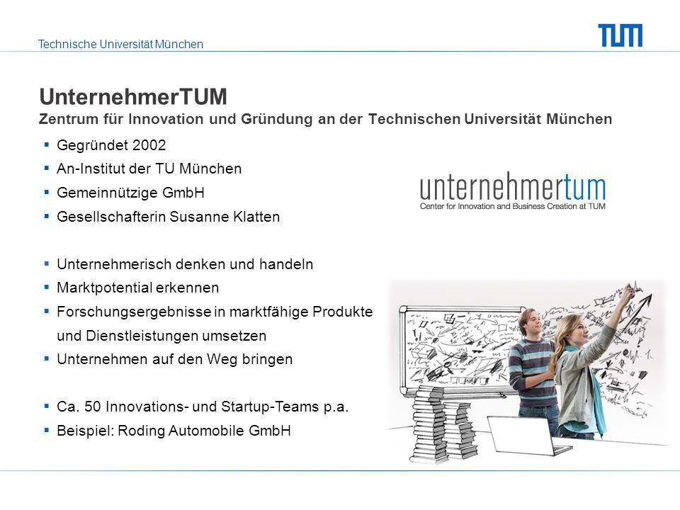 Technische Universität München UnternehmerTUM Zentrum für Innovation und Gründung an der Technischen Universität München Gegründet 2002 An-Institut de