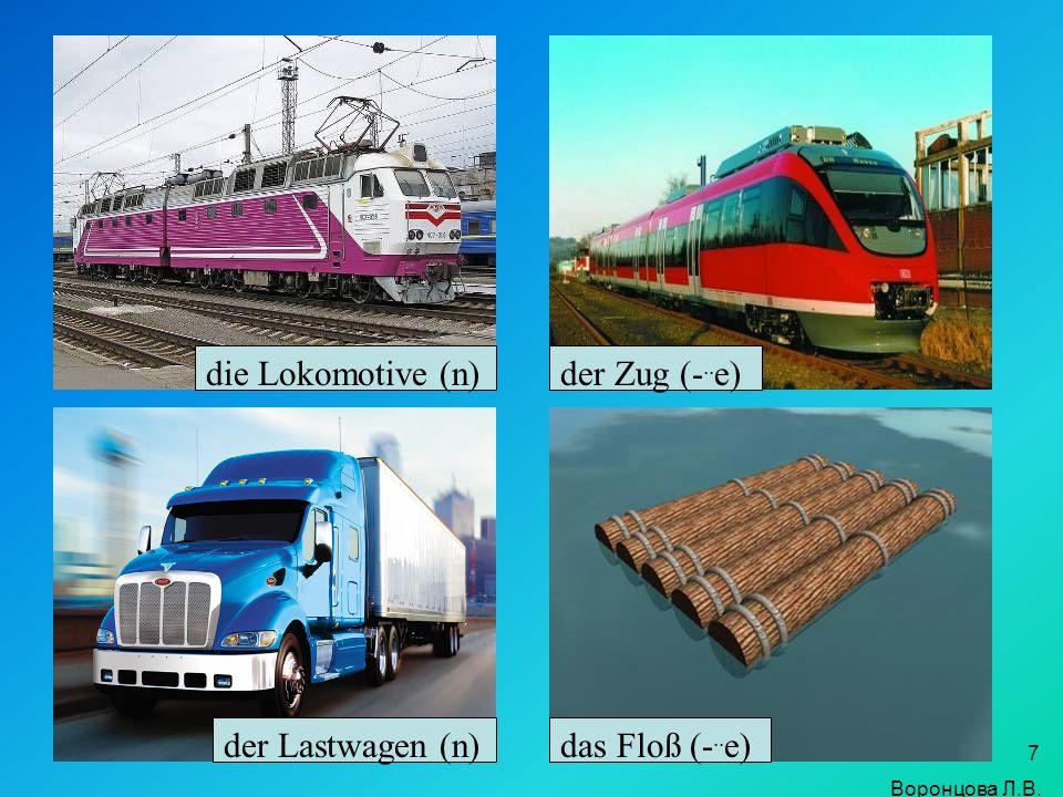 7 die Lokomotive (n)der Zug (-.. e) der Lastwagen (n)das Floß (-.. e) Воронцова Л.В.