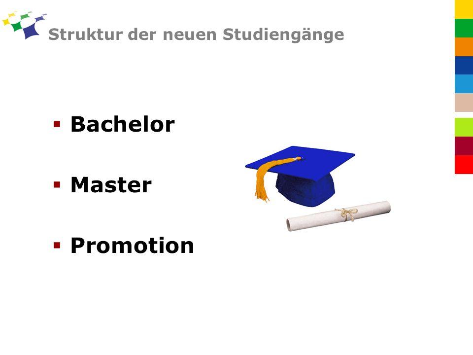 Struktur der neuen Studiengänge Bachelor Master Promotion