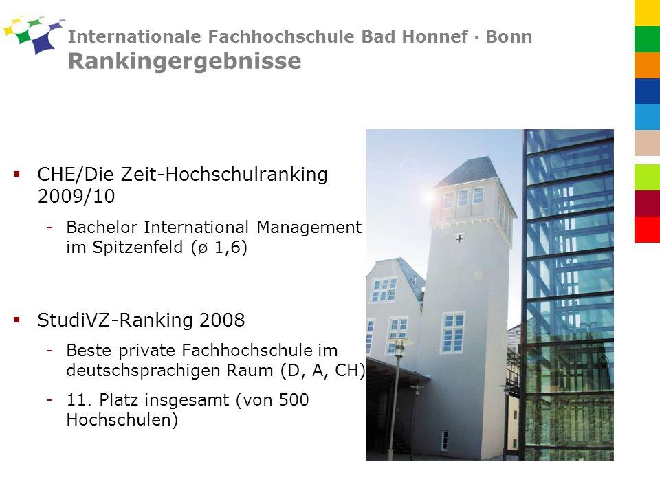 Internationale Fachhochschule Bad Honnef · Bonn Rankingergebnisse CHE/Die Zeit-Hochschulranking 2009/10 -Bachelor International Management im Spitzenfeld (ø 1,6) StudiVZ-Ranking 2008 -Beste private Fachhochschule im deutschsprachigen Raum (D, A, CH) -11.