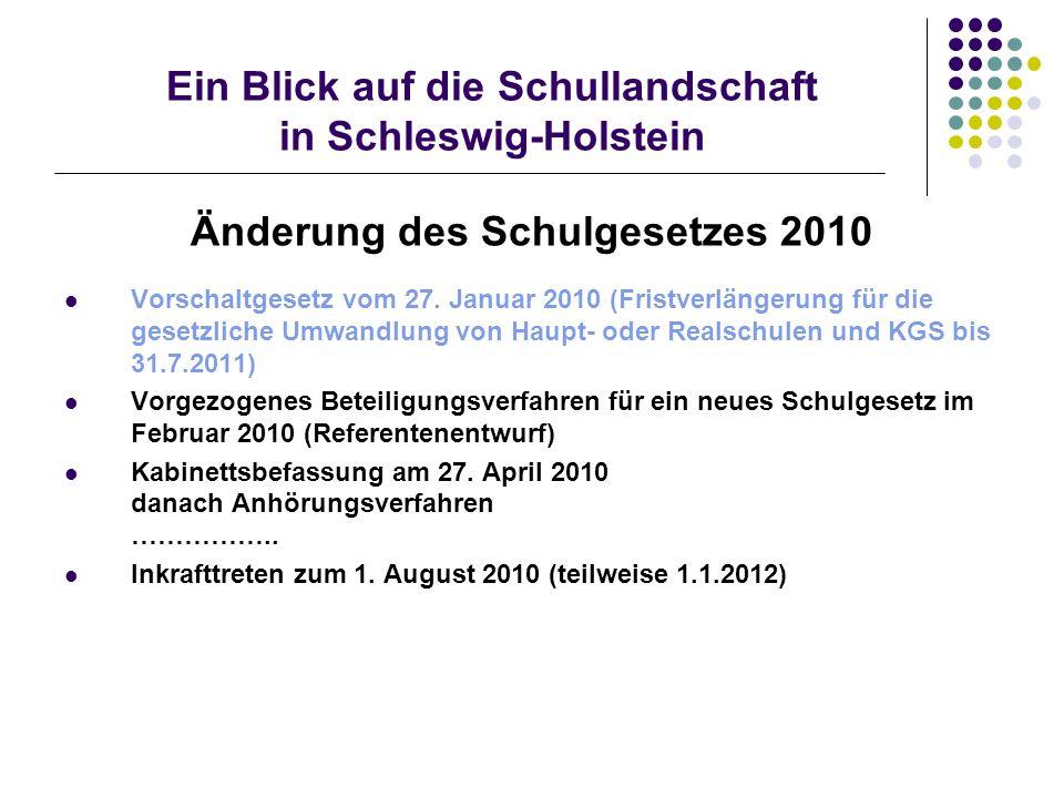 Ein Blick auf die Schullandschaft in Schleswig-Holstein Änderung des Schulgesetzes 2010 Vorschaltgesetz vom 27.