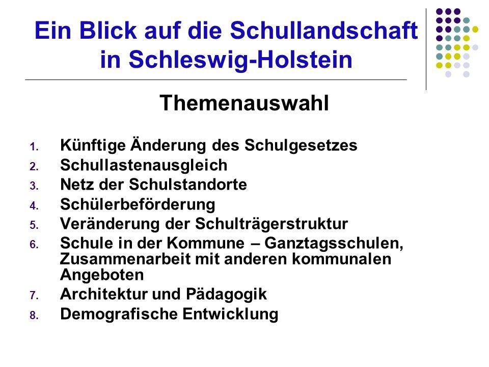 Ein Blick auf die Schullandschaft in Schleswig-Holstein Themenauswahl 1.