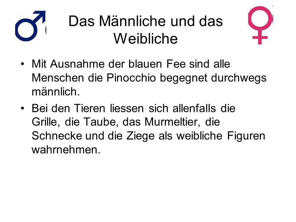 Das Männliche und das Weibliche Mit Ausnahme der blauen Fee sind alle Menschen die Pinocchio begegnet durchwegs männlich. Bei den Tieren liessen sich