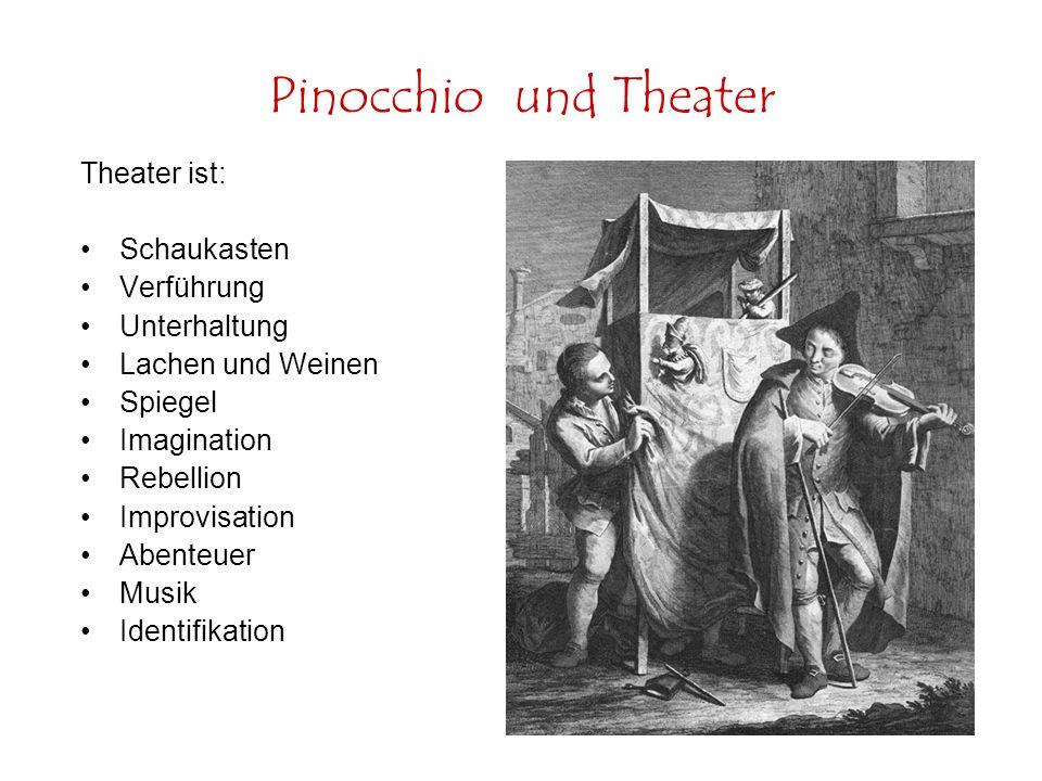 Pinocchio und Theater Theater ist: Schaukasten Verführung Unterhaltung Lachen und Weinen Spiegel Imagination Rebellion Improvisation Abenteuer Musik I