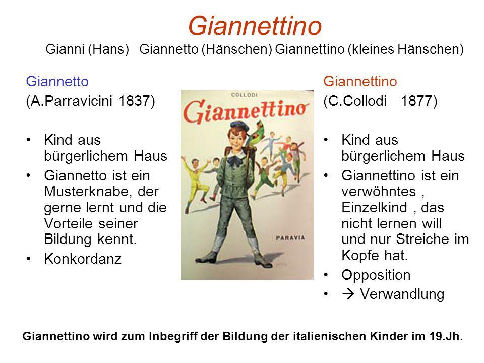 Giannettino Gianni (Hans) Giannetto (Hänschen) Giannettino (kleines Hänschen) Giannetto (A.Parravicini 1837) Kind aus bürgerlichem Haus Giannetto ist