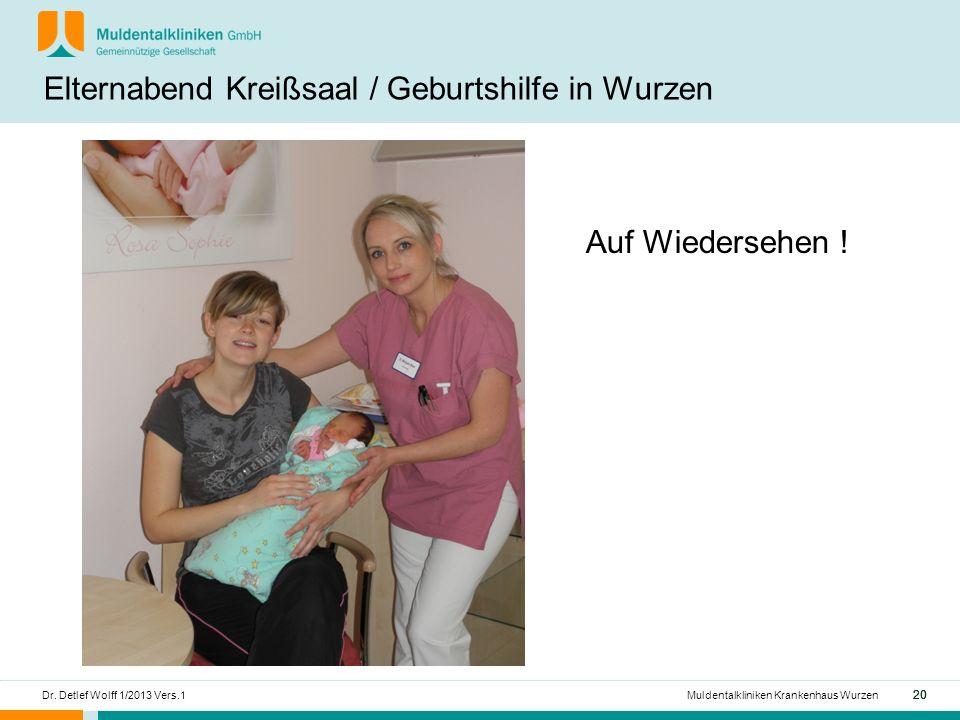 20 Dr.Detlef Wolff 1/2013 Vers.1Muldentalkliniken Krankenhaus Wurzen Auf Wiedersehen .