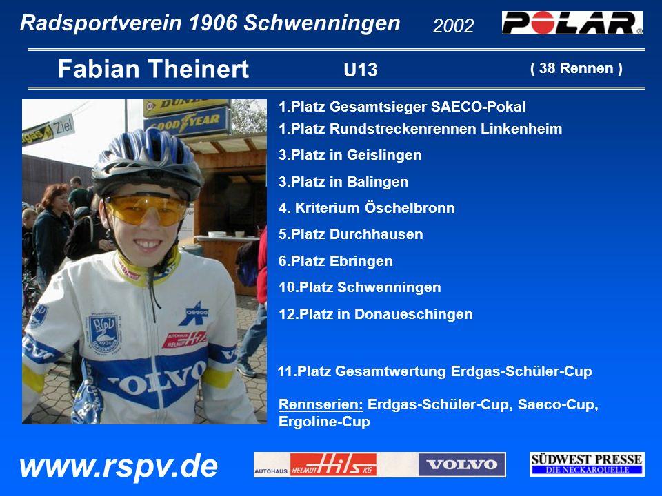 Radsportverein 1906 Schwenningen Fabian Theinert 2002 www.rspv.de U13 1.Platz Gesamtsieger SAECO-Pokal 1.Platz Rundstreckenrennen Linkenheim 3.Platz i