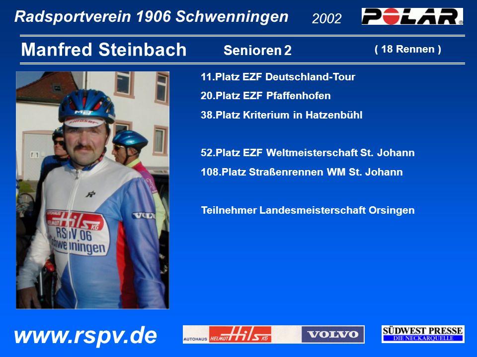 Radsportverein 1906 Schwenningen Manfred Steinbach 2002 www.rspv.de Senioren 2 11.Platz EZF Deutschland-Tour 20.Platz EZF Pfaffenhofen 38.Platz Kriter