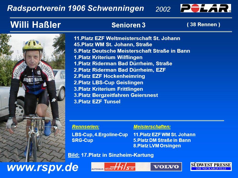 Radsportverein 1906 Schwenningen Willi Haßler 2002 www.rspv.de Senioren 3 11.Platz EZF Weltmeisterschaft St. Johann 45.Platz WM St. Johann, Straße 5.P