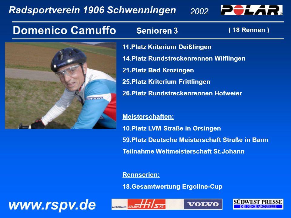 Radsportverein 1906 Schwenningen Domenico Camuffo 2002 www.rspv.de Senioren 3 11.Platz Kriterium Deißlingen 14.Platz Rundstreckenrennen Wilflingen 21.