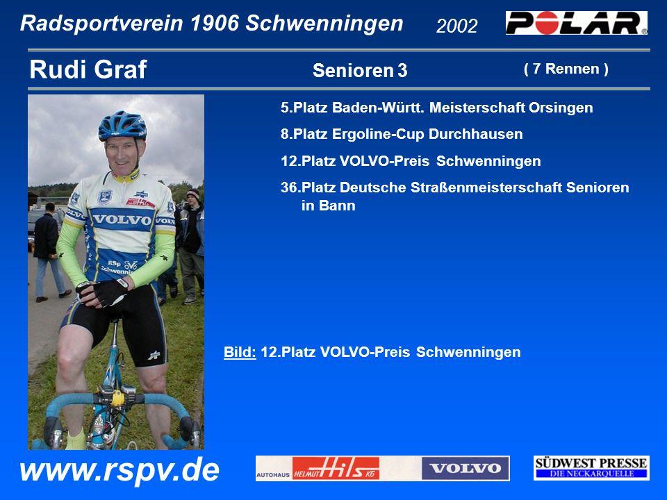 Radsportverein 1906 Schwenningen Rudi Graf 2002 www.rspv.de Senioren 3 5.Platz Baden-Württ. Meisterschaft Orsingen 8.Platz Ergoline-Cup Durchhausen 12
