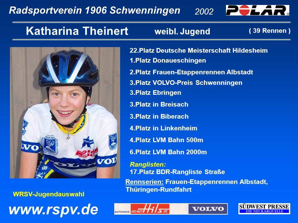 Radsportverein 1906 Schwenningen Michael Jäger 2002 www.rspv.de Jugend 5.Platz Saeco-Cup Hilzingen 9.Platz Kriterium Deißlingen 10.Platz Bergrennen Gremmelsbach 11.Platz Saeco-Cup Eigeltingen Starts im LBS-Cup in: Schönaich, Gomaringen, Frohnstetten, Schwenningen, Merdingen, Schorndorf, Wittnau, Geislingen.