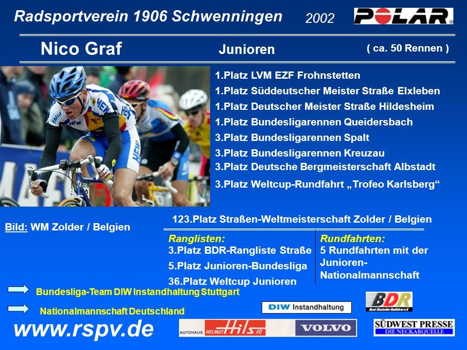 Radsportverein 1906 Schwenningen Nico Graf 2002 www.rspv.de Junioren 1.Platz LVM EZF Frohnstetten 1.Platz Süddeutscher Meister Straße Elxleben 1.Platz