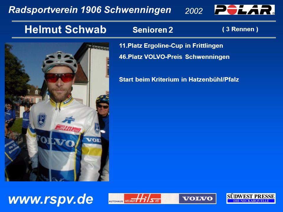 Radsportverein 1906 Schwenningen Manfred Steinbach 2002 www.rspv.de Senioren 2 11.Platz EZF Deutschland-Tour 20.Platz EZF Pfaffenhofen 38.Platz Kriterium in Hatzenbühl 52.Platz EZF Weltmeisterschaft St.