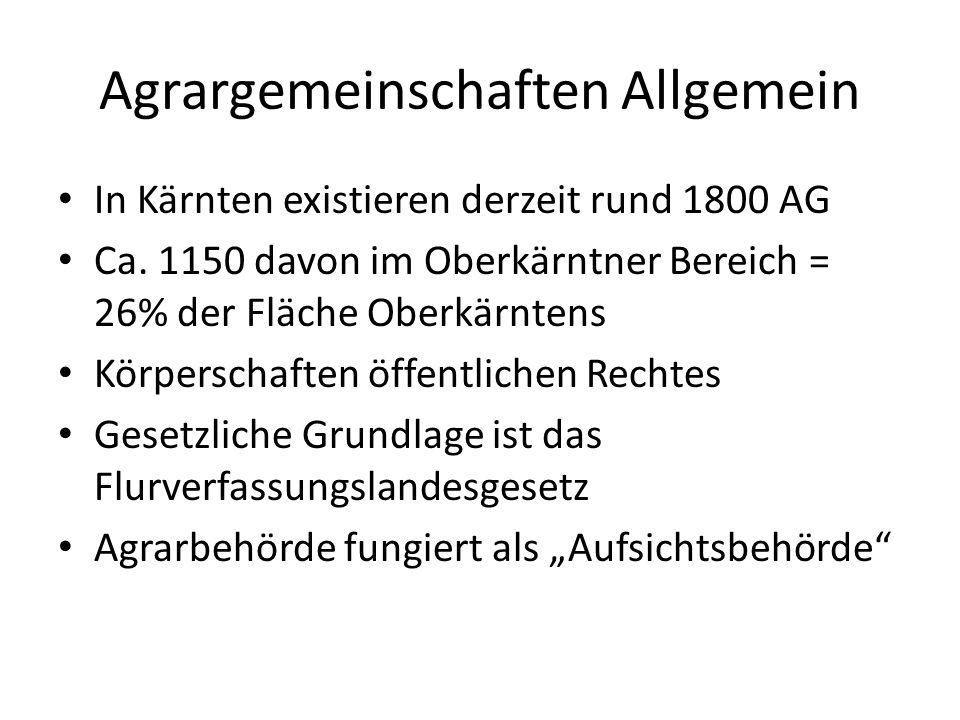 Agrargemeinschaften Allgemein In Kärnten existieren derzeit rund 1800 AG Ca.
