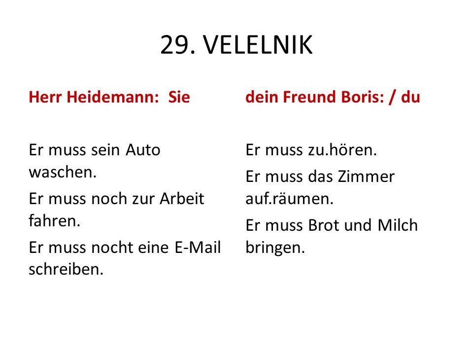 29. VELELNIK Herr Heidemann: Sie Er muss sein Auto waschen. Er muss noch zur Arbeit fahren. Er muss nocht eine E-Mail schreiben. dein Freund Boris: /