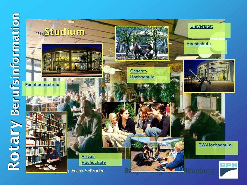 Dipl.-Ing. Frank Schröder Rotary Berufsinformation Bauplanung Nord-Oldenburg Gesamt- Hochschule Fachhochschule Universität BW-Hochschule Hochschule Pr
