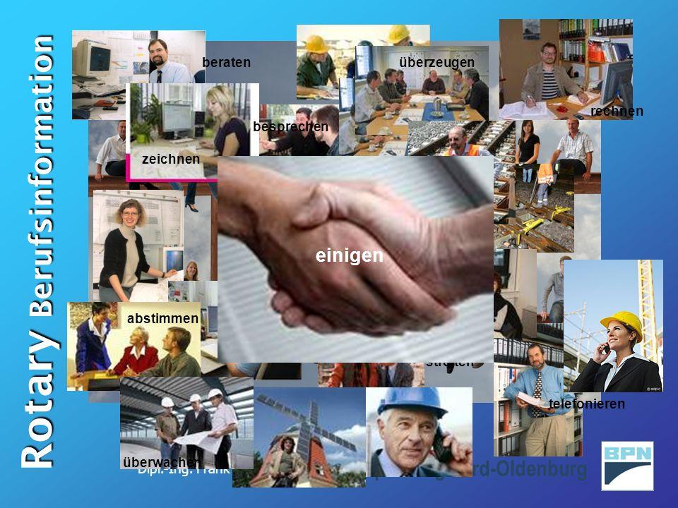 Dipl.-Ing. Frank Schröder Rotary Berufsinformation Bauplanung Nord-Oldenburg Tägliche Arbeit rechnen telefonieren überwachen besprechen zeichnen absti