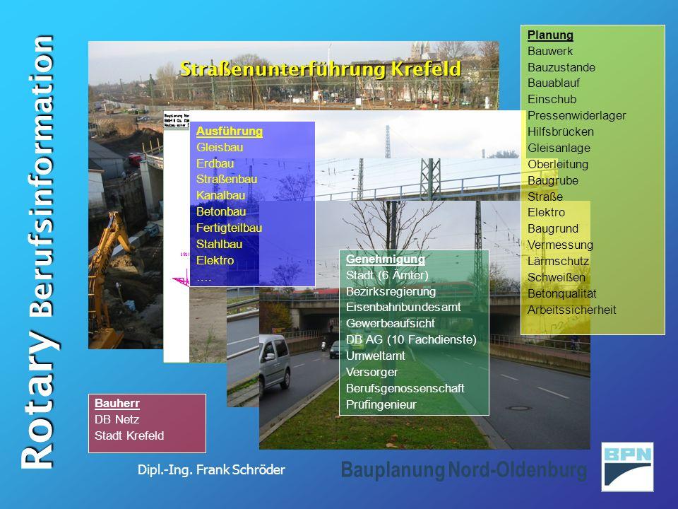 Dipl.-Ing. Frank Schröder Rotary Berufsinformation Bauplanung Nord-Oldenburg Straßenunterführung Krefeld Ausführung Gleisbau Erdbau Straßenbau Kanalba