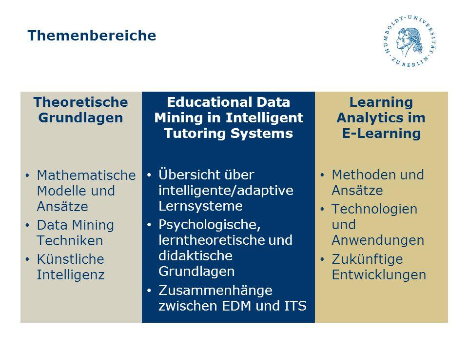 Themenbereiche Theoretische Grundlagen Mathematische Modelle und Ansätze Data Mining Techniken Künstliche Intelligenz Educational Data Mining in Intel