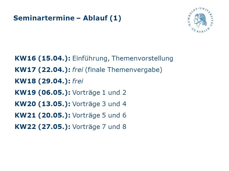 Seminartermine – Ablauf (1) KW16 (15.04.): Einführung, Themenvorstellung KW17 (22.04.): frei (finale Themenvergabe) KW18 (29.04.): frei KW19 (06.05.):
