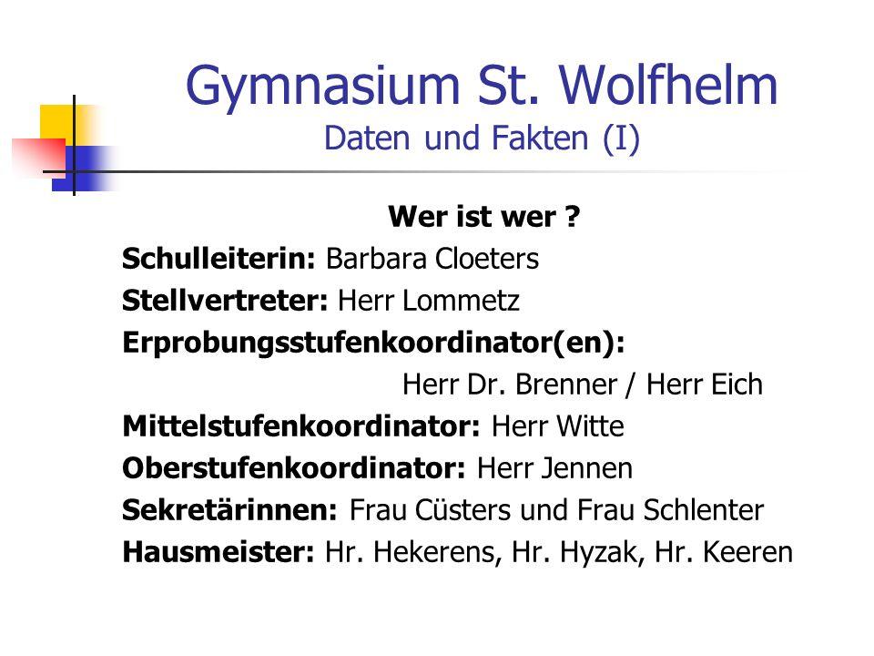 Gymnasium St.Wolfhelm Daten und Fakten (I) Wer ist wer .
