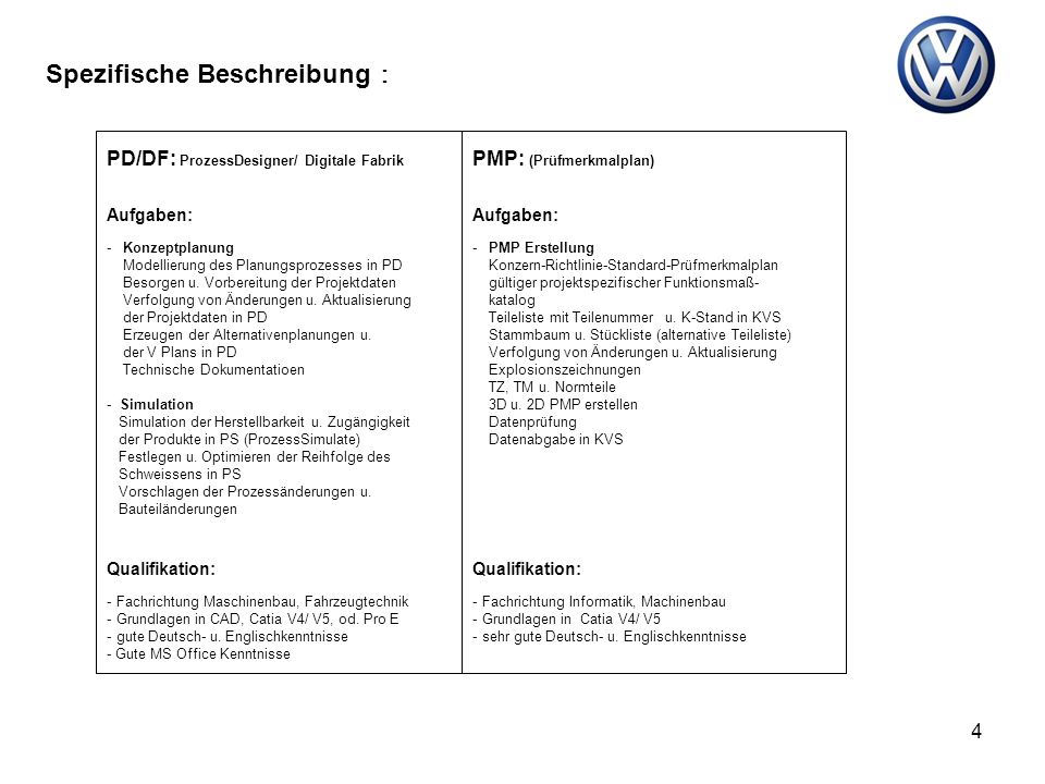 4 PD/DF: ProzessDesigner/ Digitale Fabrik PMP: (Prüfmerkmalplan) Aufgaben: - Konzeptplanung Modellierung des Planungsprozesses in PD Besorgen u. Vorbe