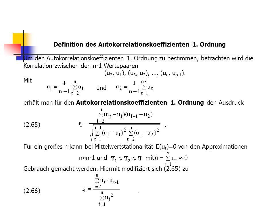 Um den Autokorrelationskoeffizienten 1. Ordnung zu bestimmen, betrachten wird die Korrelation zwischen den n-1 Wertepaaren (u 2, u 1 ), (u 3, u 2 ),..