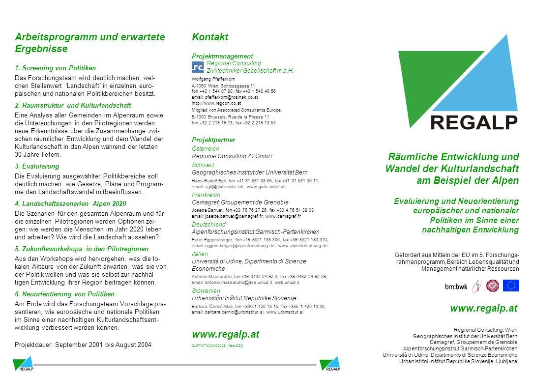 Kontakt Projektmanagement Regional Consulting Ziviltechniker Gesellschaft m.b.H.