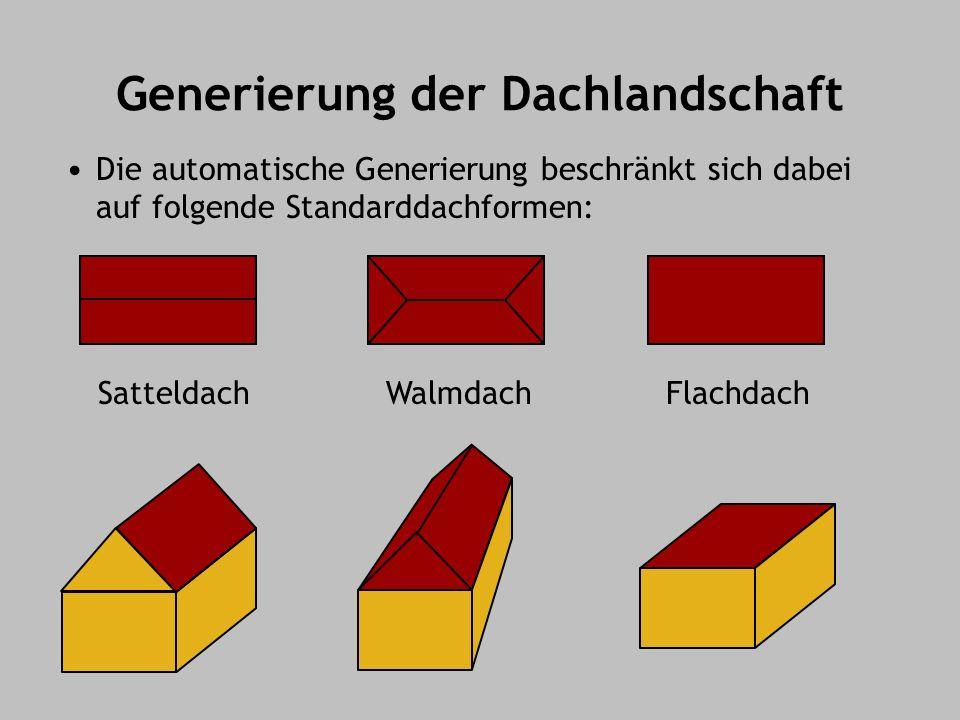 Generierung der Dachlandschaft Die automatische Generierung beschränkt sich dabei auf folgende Standarddachformen: SatteldachWalmdachFlachdach