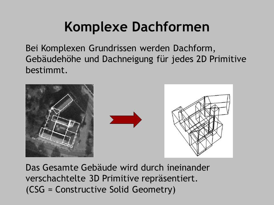 Komplexe Dachformen Das Gesamte Gebäude wird durch ineinander verschachtelte 3D Primitive repräsentiert.