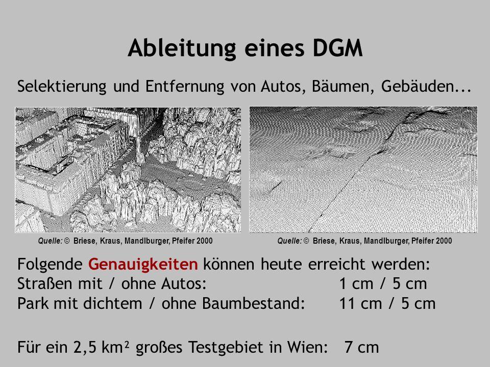 Ableitung eines DGM Für ein 2,5 km² großes Testgebiet in Wien: 7 cm Selektierung und Entfernung von Autos, Bäumen, Gebäuden... Quelle: © Briese, Kraus