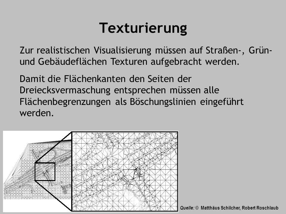 Texturierung Zur realistischen Visualisierung müssen auf Straßen-, Grün- und Gebäudeflächen Texturen aufgebracht werden.