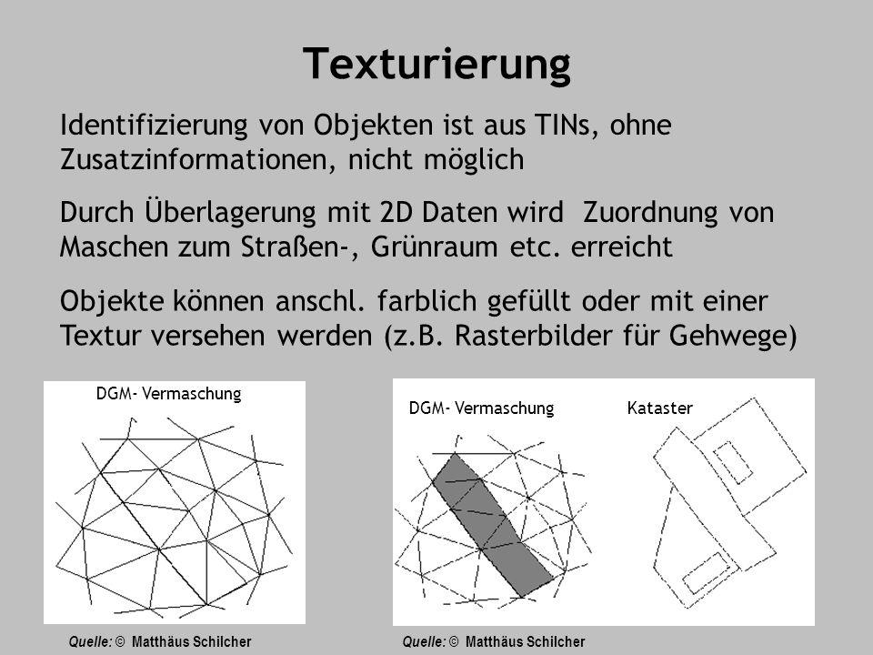 Texturierung Identifizierung von Objekten ist aus TINs, ohne Zusatzinformationen, nicht möglich Durch Überlagerung mit 2D Daten wird Zuordnung von Maschen zum Straßen-, Grünraum etc.