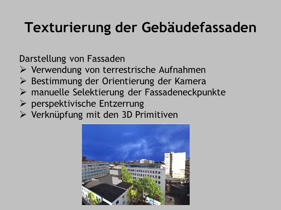 Texturierung der Gebäudefassaden Darstellung von Fassaden Verwendung von terrestrische Aufnahmen Bestimmung der Orientierung der Kamera manuelle Selektierung der Fassadeneckpunkte perspektivische Entzerrung Verknüpfung mit den 3D Primitiven