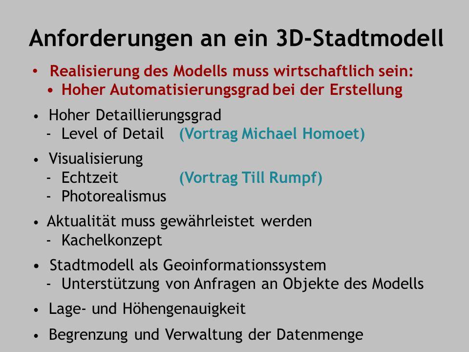 Anforderungen an ein 3D-Stadtmodell Realisierung des Modells muss wirtschaftlich sein: Hoher Automatisierungsgrad bei der Erstellung Hoher Detaillierungsgrad - Level of Detail (Vortrag Michael Homoet) Visualisierung - Echtzeit(Vortrag Till Rumpf) - Photorealismus Aktualität muss gewährleistet werden - Kachelkonzept Stadtmodell als Geoinformationssystem - Unterstützung von Anfragen an Objekte des Modells Lage- und Höhengenauigkeit Begrenzung und Verwaltung der Datenmenge