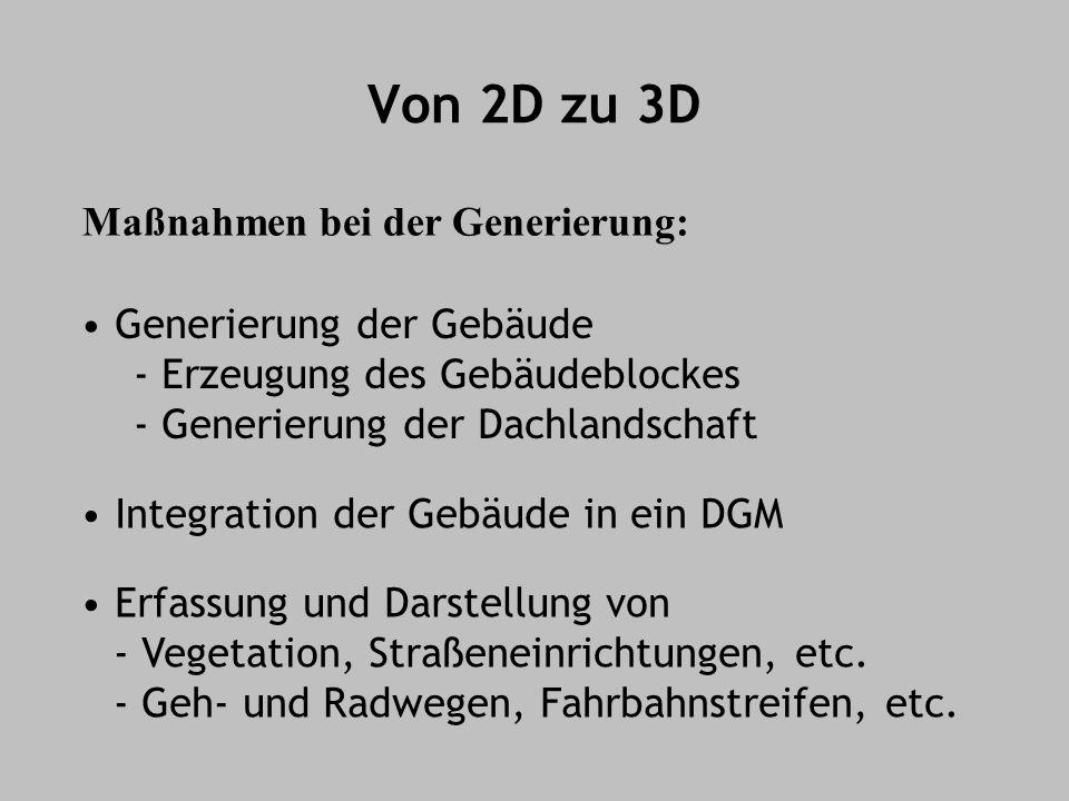 Von 2D zu 3D Maßnahmen bei der Generierung: Erfassung und Darstellung von - Vegetation, Straßeneinrichtungen, etc. - Geh- und Radwegen, Fahrbahnstreif