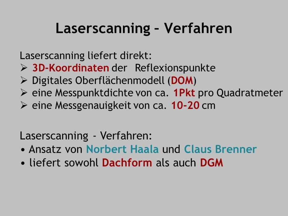 Laserscanning – Verfahren Laserscanning liefert direkt: 3D-Koordinaten der Reflexionspunkte Digitales Oberflächenmodell (DOM) eine Messpunktdichte von