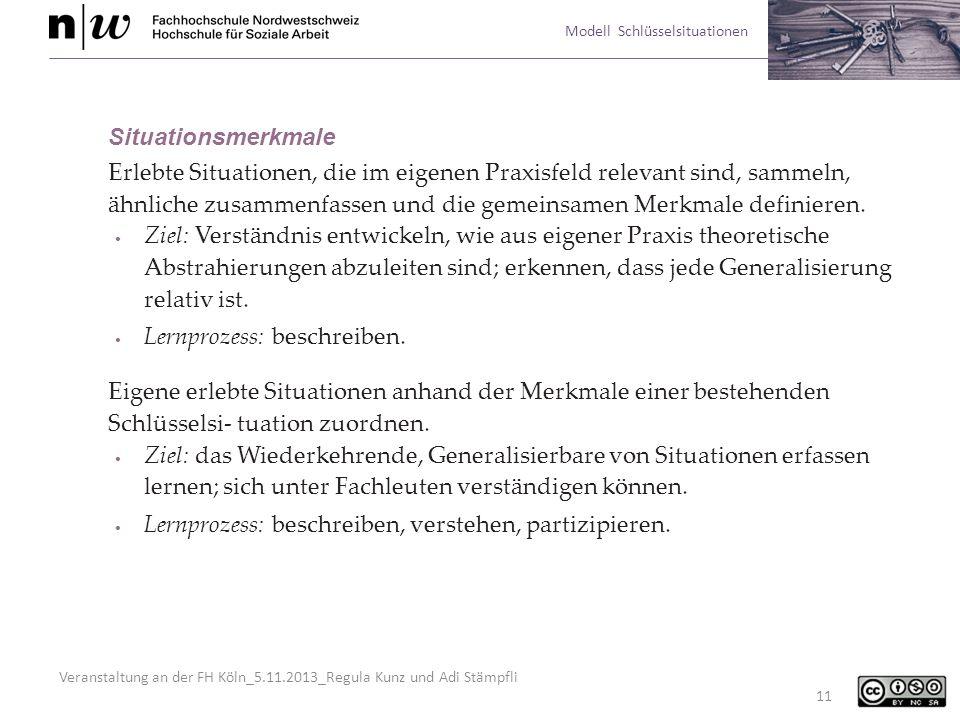 Veranstaltung an der FH Köln_5.11.2013_Regula Kunz und Adi Stämpfli Modell Schlüsselsituationen 11 Situationsmerkmale Erlebte Situationen, die im eige