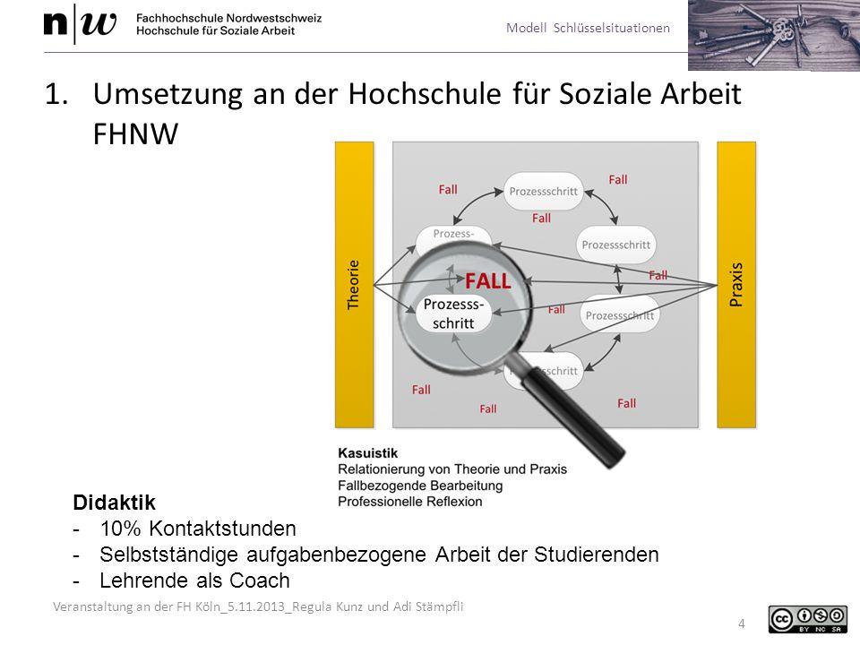 Veranstaltung an der FH Köln_5.11.2013_Regula Kunz und Adi Stämpfli Modell Schlüsselsituationen 4 1.Umsetzung an der Hochschule für Soziale Arbeit FHN
